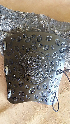 Celtic Owl with leaves leather archery arm guard,bracer,armguard,pagan