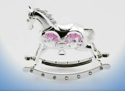 New Silver Plated Crystal Pink Rocking Horse Christening Gift For Girls