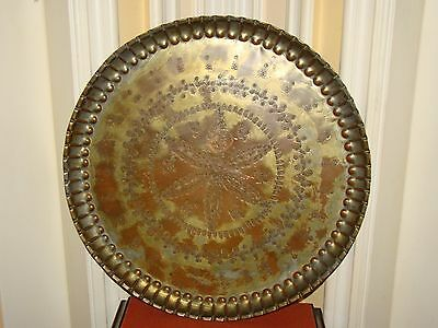 Antique/Old Vintage Hand Made Copper Wall Decor/Serving Plate  Engraved Egypt
