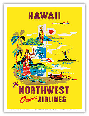 Northwest Orient Airlines HAWAIIAN ISLANDS - 1960s Vintage Travel Poster Print