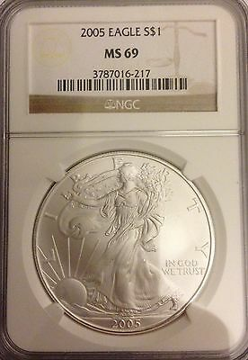 2005 American Silver Eagle - NGC MS69, Mint State, 1 Oz. .999, Almost Perfect