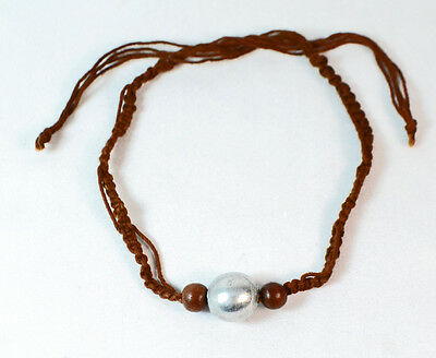 LADIES TRIBAL BROWN STRING INSPIRED CHUNKY SILVER BALL TRIBAL CHOKER ZX9