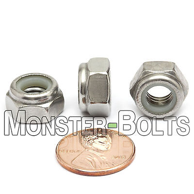 M8-1.25 / 8mm - Qty 10 - Nylon Insert Hex Lock Nut DIN 985 - A2 Stainless Steel