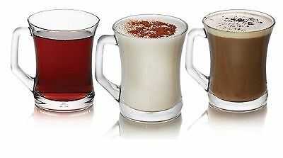 Brand New Set Of 3 Glasses Tea Coffee Cappuccino Glass Cups Hot Drink Mugs