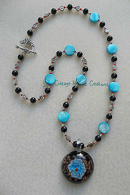 A Little Blue ~ Jewelry Making Pendant Bead Kit with Step by Step Instructions