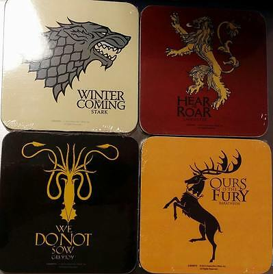 Game of Thrones Official Licensed Coasters Stark,Lannister,Greyjoy and Baratheon