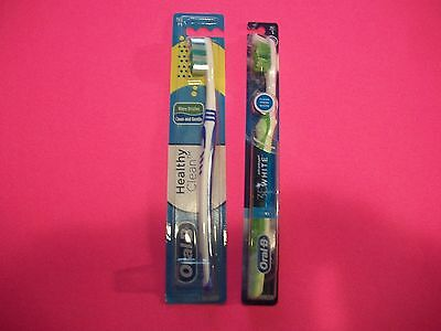 Lot Of 2 Oral-B Tooth Brushes-Healthy Clean Med. & Advantage 3-D White Soft NIP