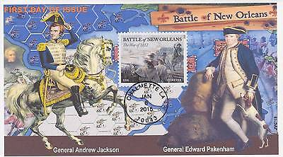 JVC CACHETS- BATTLE OF NEW ORLEANS FIRST DAY COVERS FDC's TOPICAL WAR OF 1812 #1