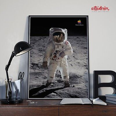Poster Apple Macintosh Think Different BUZZ ALDRIN Moon Stampa FineArt Manifesto