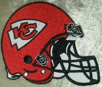 """Kansas City Chiefs Helmet 3.5"""" Iron On Embroidered Patch ~FREE Ship!"""