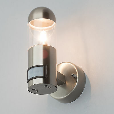 Outdoor Wall Light PIR Motion Sensor Garden Lighting Stainless Steel Litecraft