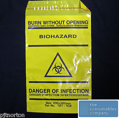 Biohazard Disposal Yellow Bags - Clinical Waste Bags 20x30cm - Pack of 10