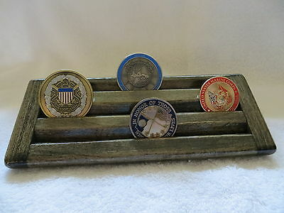 Military Challenge Coin/Chips Wood Display Holder 3 Tier->SMALL<-Ebony  Stained