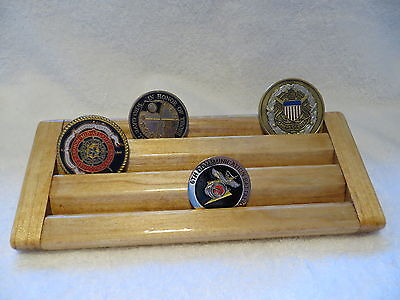 Military Challenge Coin/Chips Wood Display Holder 3 Tier->SMALL<-Oak Stained