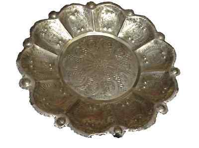 Antique Moroccan Engraved & Carved Silver Plated Brass Tray Bowl Centerpiece