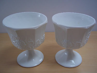 Vintage Indiana Milk Glass Harvest Grapes Footed Compotes/Vases - Set of 2