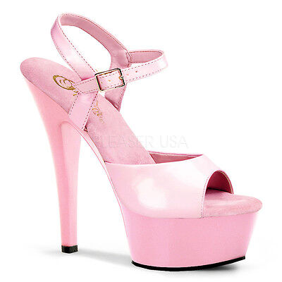"""PLEASER Sexy Baby Pink Platform 6"""" Heels Ankle Strap Stiletto Shoes KISS209/BP/M"""