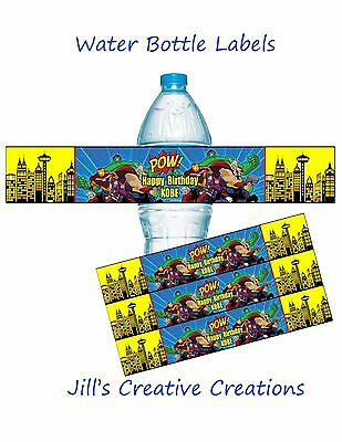 Avengers Water Bottle Labels, Superhero, Birthday, Avengers