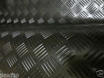 2M RUBBER FLOOR MATTING 4 BAR CHECKER STYLE ANTI SLIP - 2m(L) x 1.5m(W) x3mm GYM