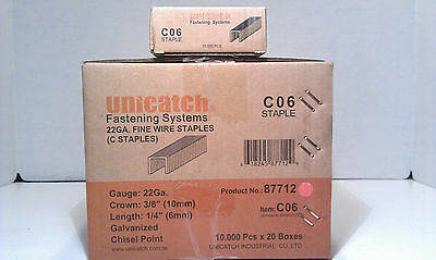 "20 Boxes 1/4"" Long 22 Gauge 3/8"" Crown Upholstery Staple 10,000 Box 7 / 71 / C"