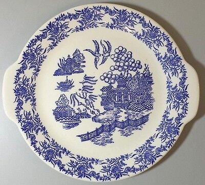 Royal China Blue & White Handled Cake Plate Oriental Underglaze 10.5'' Vintage