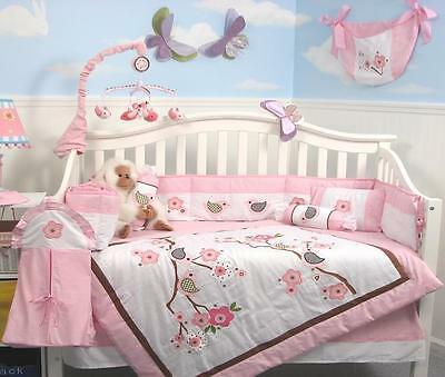 Love Bird Story Baby Crib Nursery Bedding Set 13 pcs included Diaper Bag