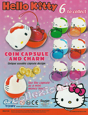 HELLO KITTY COIN CAPSULE - SALVADANAIO - AND CHARM 6+6 PEZZI NEW TOMY