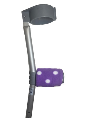Crutch Handle Padded Covers HIGH QUALITY Cushioned Foam Pad - Purple Spots