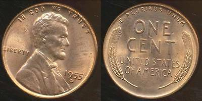 United States, 1955-D One Cent, Lincoln Wheat - Uncirculated