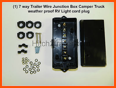 7 way Trailer Wire Junction Box Camper Truck weather proof RV Light cord plug
