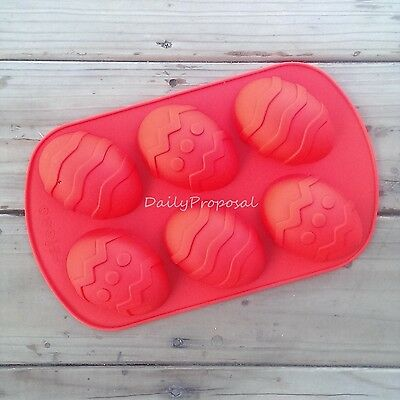 6 Easter Egg Silicone Mold Bakeware Baking Pastry Chocolate Cake Candy Butter Je