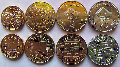 Nepal set of 4 coins 1998-2007 (1+2+5+10 rupees) UNC