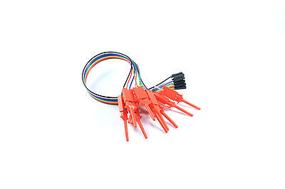 10 Test Hook Clips Red Debug Logic Analyzer 10 Way Dupont 30cm Flux Workshop