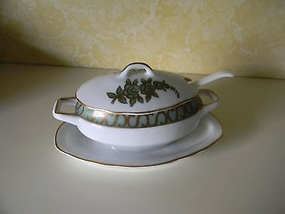 "PORCELAIN SAUCE BOAT ""La Vie En"" ROSE WITH SAUCER, LID AND LADLE ARNART 55/1206"