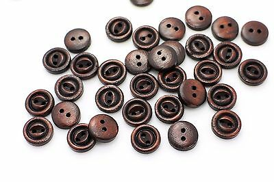 Small Coffee Bean Wood Button Baby Children Mini Natural Brown Wooden 11mm 20pcs