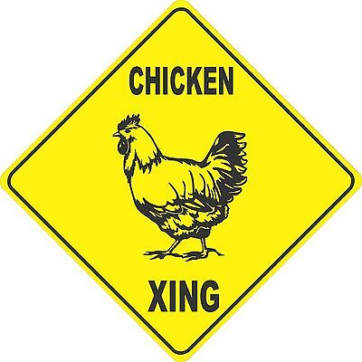 """13""""x13"""" plastic funny Chicken sign xing Crossings animal"""