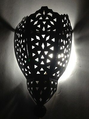 Moroccan Rustic Black Wrought Iron Tin Wall Light Arabesque Sconce Large