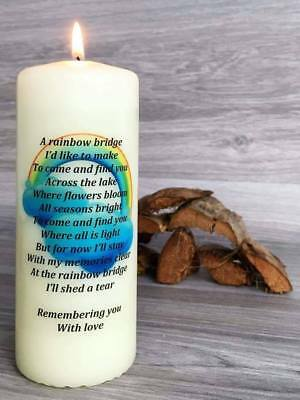 Personalised Pet Loss Memorial Candle - A Rainbow Bridge 6 inch