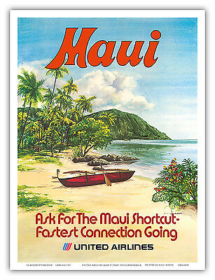 United Airlines HAWAII Maui CANOE Hollenbeck 1970s Vintage Travel Poster Print