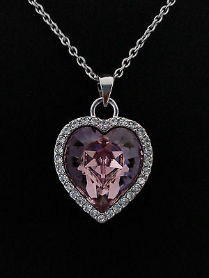 New Silver Heart-shaped Pendant with Lavender Swarovski Crystal Chain Jewelry