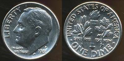 United States, 1981 Dime, Roosevelt - Choice Uncirculated