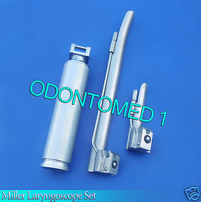 LARYNGOSCOPE MEDIUM HANDLE C + 2 MILLER BLADE #0 and #4 ENT ANESTHESIA SET