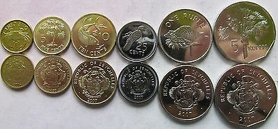 Seychelles set of 6 coins 2004-2007 (1+5+10+25 cents + 1+5 rupees) UNC