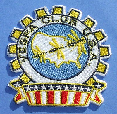 Vespa Club USA iron-on cloth scooter badge patch cog style stars bars and wasps