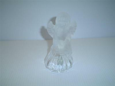 Vintage Goebel Glass Frosted Crystal Little Angel Glass Bell 1979 West Germany