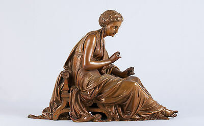Leon Pilet (1840-1916) Bronze of Seated Robed Woman