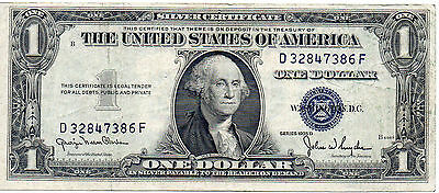 1935D US One Dollar Silver Certificate Serial#  D 32847386 F