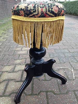ANTIQUE (19TH CENTURY) FRENCH PIANO STOOL/CHAIR IN PETIT-POINTS STYLE-FREE SHIP