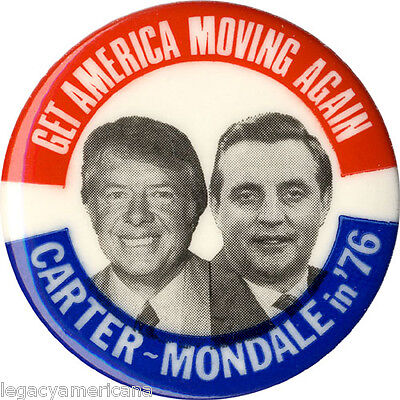 1976 Carter Mondale GET AMERICA MOVING AGAIN Campaign Button (4989)