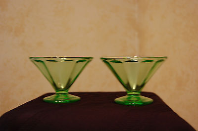 2 VINTAGE GREEN DEPRESSION DESSERT GLASSES BY FEDERAL GLASS STAMPED F in shield